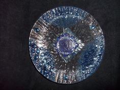 Serving Dish Blue Glass Bubble Decorative