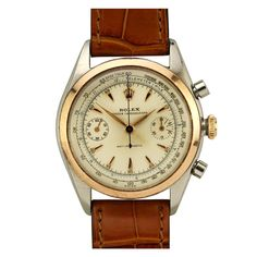 Rolex Stainless Steel and Rose Gold Chronograph Wristwatch Ref 4500 circa 1940s
