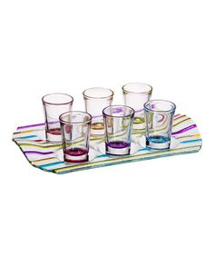 Take a look at this Stripe Rainbow Shot Glass & Tray Set on zulily today!