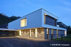 Detached house Pool Flat roof Stone facade Panoramic window Roof terrace F Contemporary Architecture, Architecture Design, Modern Villa Design, Modern Prefab Homes, Stone Facade, House Front Design, Modern Mansion, Dream House Exterior, Pool Houses