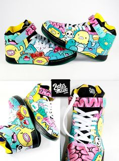 WTF Sneaker Part 2 by Bobsmade on deviantART Custom Painted Shoes, Custom Shoes, Sneakers Fashion, Fashion Shoes, Shoes Sneakers, Zapatillas Nike Air Force, Painted Sneakers, Aesthetic Shoes, Hype Shoes