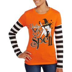 Betty Spell - Juniors - Betty Boop Halloween 2Fer Graphic Tee