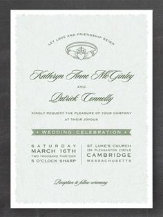 Irish Wedding Traditions - Irish Wedding Customs | Wedding Planning, Ideas & Etiquette | Bridal Guide Magazine-like this invite