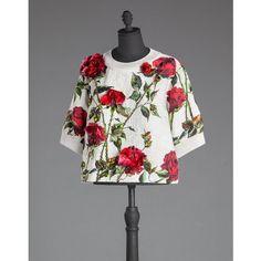 DOLCE & GABBANA Rose Brocade Sweatshirt With Raised Rhinestones (€3.170) ❤ liked on Polyvore featuring tops, hoodies, sweatshirts, ivory, studded sweatshirt, sweat shirts, jeweled sweatshirt, jeweled tops and rhinestone tops