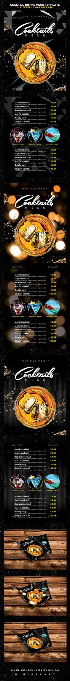 Cocktail Drinks Menu  PSD Template • Download ➝ https://graphicriver.net/item/cocktail-drinks-menu/12253324?ref=pxcr