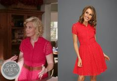 Kristina Braverman (Monica Potter) wears this 100% cotton laser-cut red shirtdress with a full skirt  in this week's episode of Parenthood.