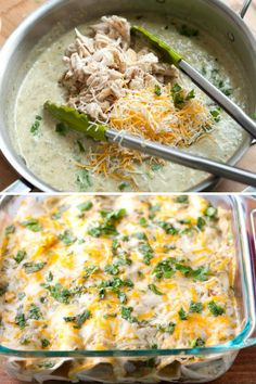 It's so simple to make this chicken enchiladas recipe with salsa verde, chicken, sour cream, cheese and cilantro. The perfect quick and easy dinner.