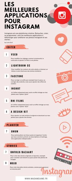 Les meilleures applications pour Instagram   Madame Aime Instagram Words, Photo Instagram, Instagram Tips, Instagram Feed, Application Pour Instagram, Lightroom, Tips To Be Happy, Instagram Marketing Tips, Network Solutions