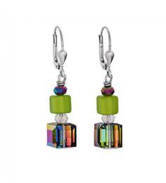12f3579f6 Crystal Cube Earrings, White, Black Diamond, Coeur De Lion Jewelry ...
