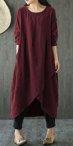 I love this Vintage Pure Color Irregular Cross Wrap Long Sleeve Women Dresses Boho Fashion, Fashion Dresses, Vintage Fashion, Womens Fashion, Beautiful Outfits, Cool Outfits, Vestidos Vintage, Linen Dresses, Loose Dresses