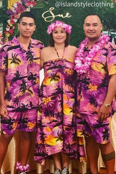Happy Birthday to Sue who had a Hawaiian themed party. Purple Sunset Hawaiian Shirt and Shorts & Dress. Music Festivals, Bucks Night, Cruise, Cricket, rugby, Spring Break, Halloween. #birthdayparties #birthday #fancydress #costume #hawaiianshirt #partykit #springbreak #schoolies #o-week #unishirt #shirtshirtparty #cricket #festivalshirt #festivalclothing #partytux
