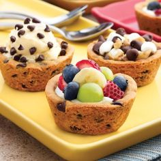 cookie cups    Ingredients        1 package (16.5 ounces) NESTLÉ® TOLL HOUSE® Refrigerated Chocolate Chip Cookie Bar Dough    Directions  PREHEAT oven to 325° F. Grease twelve 2 1/2-inch muffin cups.    PRESS two squares of dough together. Place in prepared muffin cups.    BAKE for 20 to 24 minutes or until golden brown. Cool completely in pan