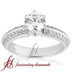 Pave Set Knife Edge Diamond Engagement Ring With Round Side Stones