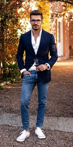 20 Best Casual Outfits For Men Casual Elegant Style, Casual Street Style, Nice Casual Outfits For Men, Men Casual, Fashionable Outfits, Simple Outfits, Blazer Outfits Men, Denim Outfit, Converse Outfits