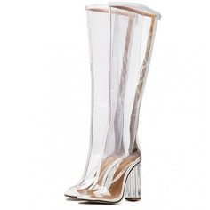 White Knee High Transparent Perspex Heel Open Toe Boots (766.030 IDR) ❤ liked on Polyvore featuring shoes, boots, white knee length boots, perspex heel boots, transparent boots, white boots and clear-heel boots