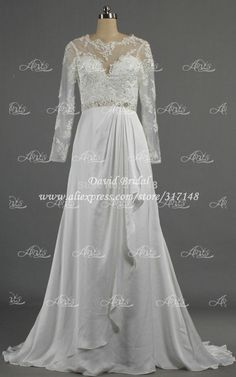 Cheap Wedding Dresses, Buy Directly from China Suppliers:2015 Latest Design Wedding Dresses Long Sleeves A Line Chiffon Lace Scoop Neck Buttons Beaded E419More dresses you may l