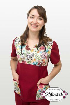 #salud #ambos #uniforme #Ailin&Co #femenina Nursing Dress, Nursing Clothes, Scrubs Outfit, Maid Uniform, Phlebotomy, Work Wear, Sewing, Crochet, How To Wear