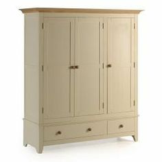 Camden Painted Pine & Ash Triple Wardrobe With Drawers A solid pine and ash wardrobe with a spacious double section on one side and a single robe on the other ideal for a spectrum of interiors. Shabby Chic Apartment, Shabby Chic Porch, Shabby Chic Wall Decor, Shabby Chic Mirror, Shabby Chic Living Room, Shabby Chic Interiors, Shabby Chic Kitchen, Shabby Chic Homes, Painted Wardrobe