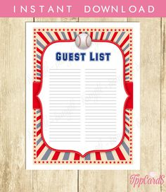Instant Download Baseball Guest List Printable Baseball Baby Shower Guest Sign In Sheet  Red Blue Baseball Birthday Guest Sign-In by TppCardS #tppcards