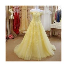 Petite - Plus Size Yellow Lace Off the Shoulder Ball Gown Prom Dress... ❤ liked on Polyvore featuring dresses, gowns, prom dresses, lace gown, prom gowns, plus size evening dresses and plus size lace dress