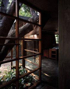 eikenhouten raam, met japanse verdeling voor keuken/tuin verdeling