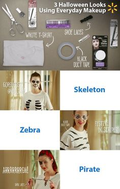 Three frightfully affordable DIY looks for Halloween! Check out these scary-good costumes you can put together on a terrifyingly teeny budget. How creative can you get with a t-shirt, scissors, duct tape and shoe laces? Transform into a Skeleton, Zebra or Pirate for school, work or your Halloween party with these everyday items and cool makeup tips using eyeliner, eye shadow, nail polish and lipstick. Walmart has everything you need to make it a Halloween to remember.