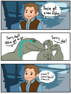 Jurassic World forget people dieing.this is the saddest part ever, and when delta, charlie and echo die :( Funny Memes, Hilarious, Jurassic Park World, Falling Kingdoms, Dinosaur Art, T Rex, Funny Comics, Nerdy, Geek Stuff