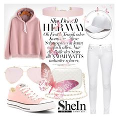 """""""Pink Hooded Drop Shoulder Sweatshirt"""" by rachella-xoxo ❤ liked on Polyvore featuring rag & bone, Converse, Charlotte Russe and Humble Chic"""