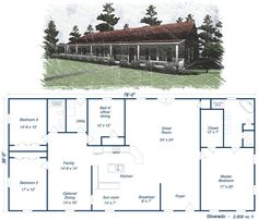 Great simple design with lg kitchen and open floor plan Metal House Plans, Barn House Plans, Shop House Plans, House Floor Plans, House Kits, House Ideas, Barn Plans, Metal Building Homes, Metal Homes