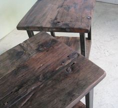 Rustic End Table with Steel Base