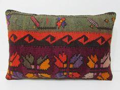 lumbar kilim pillow turkish fabric 16x24 decorative accessories turkish pillow case bohemian decor wool pillow cover lumbar pillow old 24812