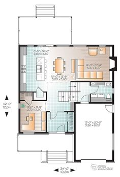 Modern House Plan with 3 Bedrooms and Baths - Plan 4765 Contemporary Style Homes, Contemporary House Plans, Modern House Plans, Modern House Design, Two Story House Plans, Small House Plans, House Floor Plans, Plan Chalet, Open Floor Concept