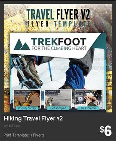 Hiking Travel Flyer Version 2 - Second Series to Corporate Travel Flyer design, for Extreme trips like mountain climbing, hiking or other adventurous escapades.
