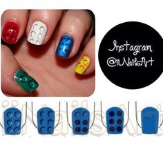 Photo by iiNailsArt(iinailsart): Lego nail art tutorial using the do... | iPhoneogram