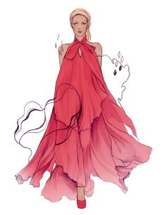 50 Beautiful Fashion Illustrations | Cuded, love the flow in the material