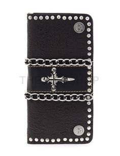 (UTWHA011BH48B-DARKWINE) Mens Chain Cross Skull Stud Patched Leather Long Design Wallet
