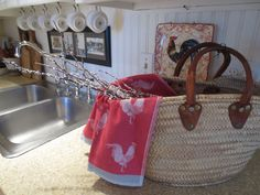 French market basket sets the tone for this French Country kitchen.