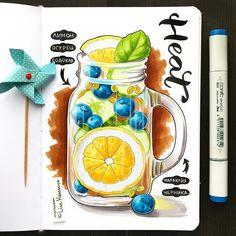 Lisa Krasnova helps you to deal with summer heat? Начинала рисовать эту картинку, изнывая от жары, а закончила в То ли погода шутит, то ли мне…」 Copic Marker Drawings, Sketch Markers, Pencil Art Drawings, Cool Art Drawings, Realistic Drawings, Colorful Drawings, Art Drawings Sketches, Copic Art, Copic Sketch
