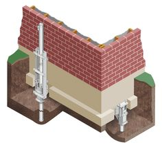 First of all, we dig out holes under the foundation and put concrete to them to make the existing foundation strong.