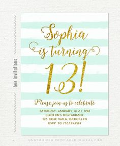 13th Birthday Invitations Girl Mint Stripes Gold Glitter Printable Teen Party Invites Tur