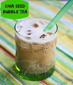 Chocolate Rooibos Chia Seed Bubble Tea © Jeanette's Healthy Living #chiaseed #beverage #healthy