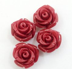2 pcs Compressed Coral Rose Beautiful Hand Carved by gemsforjewels