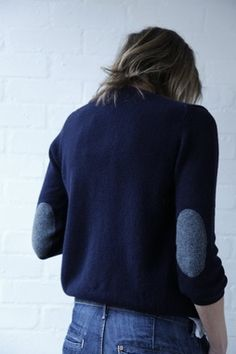 I love elbow patches.  These look repurposed from another wool sweater.  Good idea!