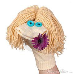 Marionnette de chaussette avec une fleur