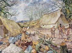 Village of Hunebedden builders during the Neolithic by J. Combine Pictures, I Love School, School Posters, Vintage School, Prehistoric Animals, Dutch Artists, Historical Pictures, Stone Age, Illustrators