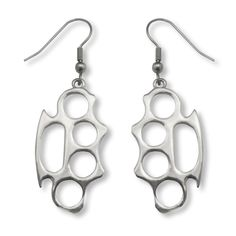 Brass Knuckles Polished Silver Finish Pewter Earrings #1026 #RealMetalJewelry #DropDangle To See Brantley Gilbert In Concert