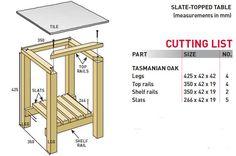 Bouwtekening om zelf een tafel te maken met een blad van natuursteen.