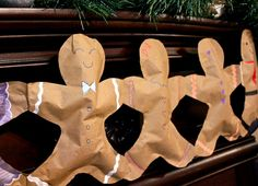Free template { A jumbo Gingerbread Man Bunting is a fun and festive project to make with the kids.