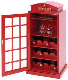 Red Telephone Box Wine Organizer