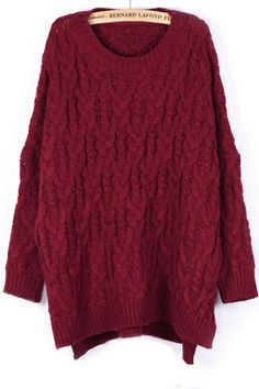 Street-chic High-low Cable Sweater OASAP.com #Merry #Christmas #Xmas